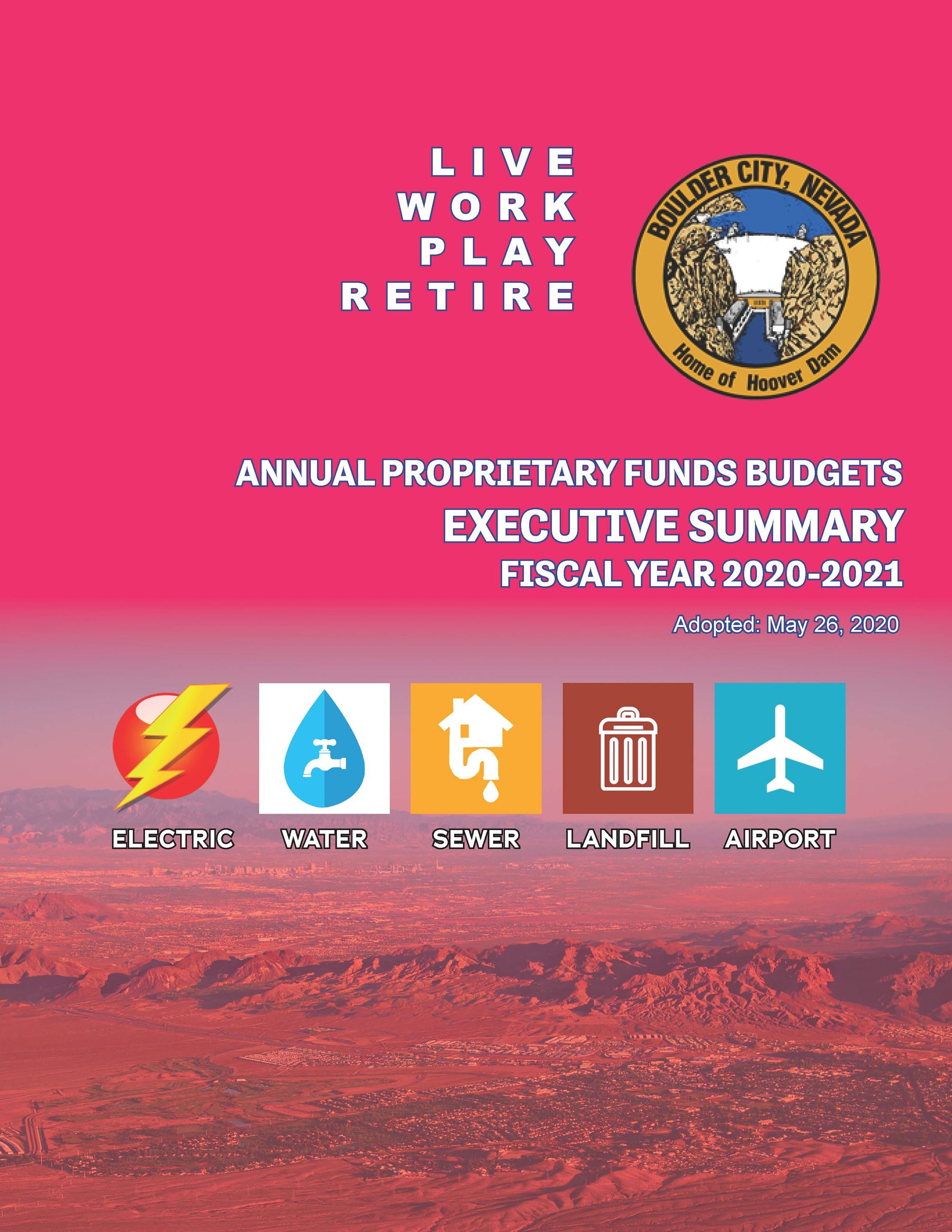 FY21 Enterprise Funds Budget Executive Summary - cover page